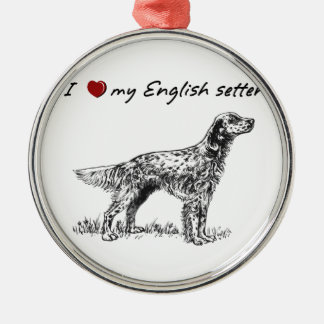 """I """"heart"""" my English setter"""" words & graphic Christmas Tree Ornaments"""