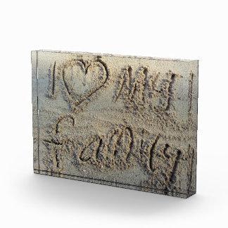 I heart my family, sand writing beach love quote award
