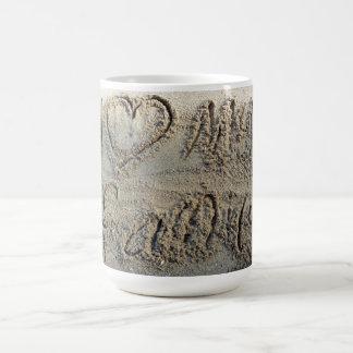 I heart my family, sand writing beach love quote coffee mug