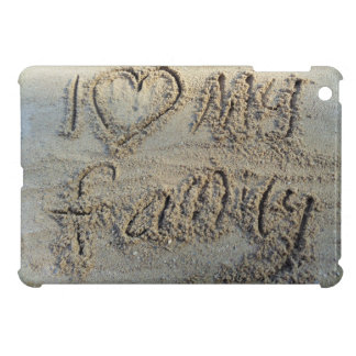 I heart my family, sand writing beach love quote cover for the iPad mini