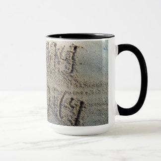 I heart my family, sand writing beach love quote mug