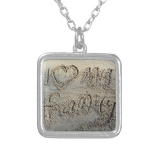I heart my family, sand writing beach love quote square pendant necklace