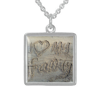 I heart my family, sand writing beach love silver square pendant necklace