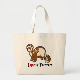 I Heart My Ferret Large Tote Bag