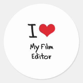 I heart My Film Editor Round Sticker
