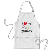 I Heart My First Graders Teacher Love Adult Apron