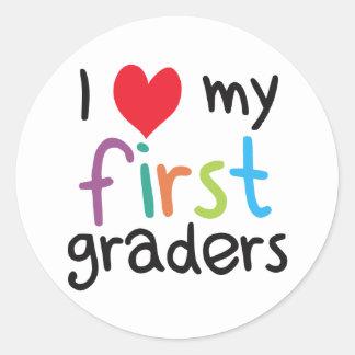 I Heart My First Graders Teacher Love Classic Round Sticker