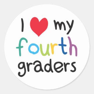 I Heart My Fourth Graders Teacher Love Classic Round Sticker