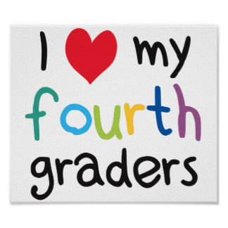 I Heart My Fourth Graders Teacher Love Poster