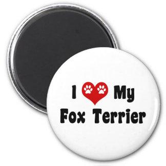 I Heart My Fox Terrier 2 Inch Round Magnet