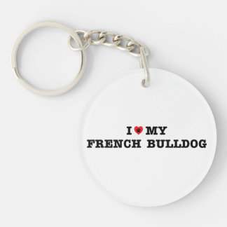 I Heart My French Bulldog Keychain
