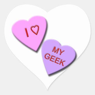 I Heart My Geek Candy Hearts Heart Sticker
