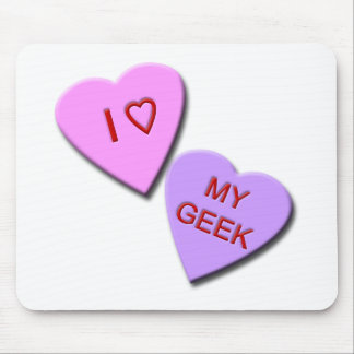 I Heart My Geek Candy Hearts Mouse Pads