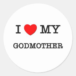I Heart My GODMOTHER Classic Round Sticker