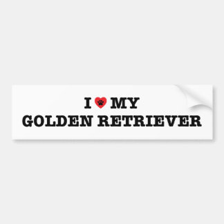 I Heart My Golden Retriever Bumper Sticker