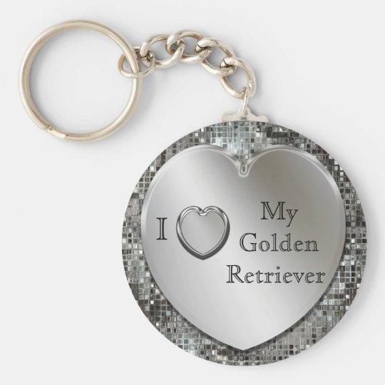 I Heart My Golden Retriever Heart Keychain