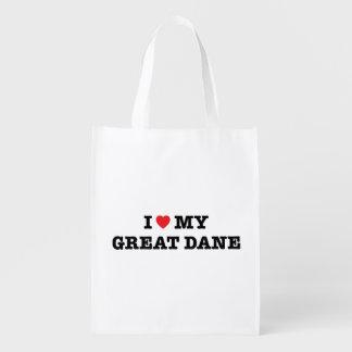 I Heart My Great Dane Reusable Bag