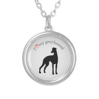 I heart my greyhound silver plated necklace