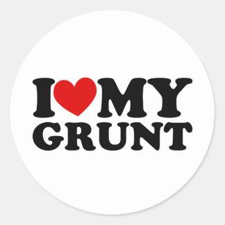 "I ""Heart"" My Grunt Classic Round Sticker"