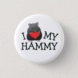 I Heart My Hammy Black Long Hair Syrian Button
