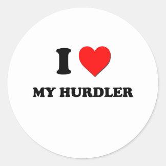 I Heart My Hurdler Round Sticker