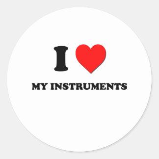 I Heart My Instruments Round Stickers