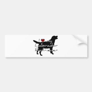 """I """"heart"""" my Labrador Retriever"""" words with graphi Bumper Sticker"""