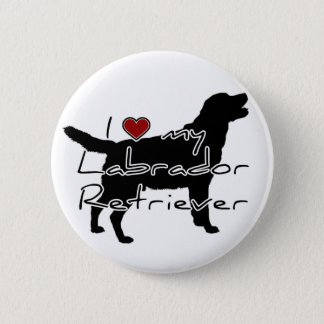 "I ""heart"" my Labrador Retriever"" words with graphi Button"