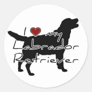 """I """"heart"""" my Labrador Retriever"""" words with graphi Classic Round Sticker"""