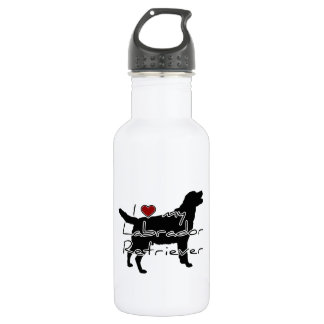 """I """"heart"""" my Labrador Retriever"""" words with graphi 18oz Water Bottle"""