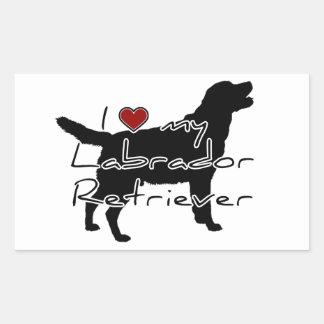 """I """"heart"""" my Labrador Retriever"""" words with graphi Rectangular Sticker"""
