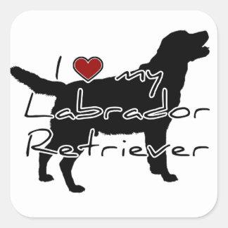 """I """"heart"""" my Labrador Retriever"""" words with graphi Square Sticker"""