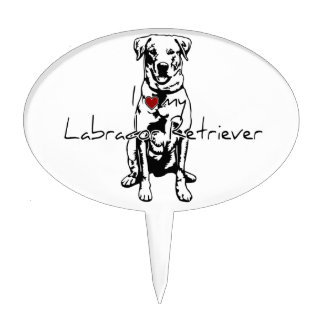 I heart my Labrador Retriever words with graphic Cake Toppers