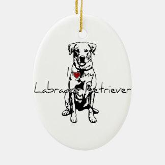 """I """"heart"""" my Labrador Retriever words with graphic Ceramic Ornament"""