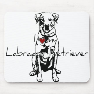 """I """"heart"""" my Labrador Retriever words with graphic Mouse Pad"""