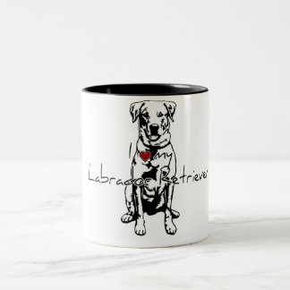 """I """"heart"""" my Labrador Retriever words with graphic Two-Tone Coffee Mug"""
