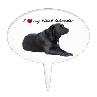 I heart my Labrador Retriever words with photo Cake Picks