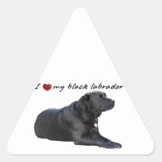 "I ""heart"" my Labrador Retriever"" words with photo Triangle Sticker"