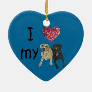 I heart my Labs Double-Sided Heart Ceramic Christmas Ornament