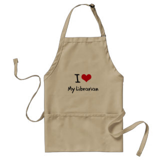 I heart My Librarian Adult Apron