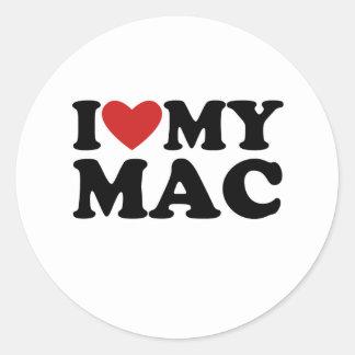 I heart my mac round stickers
