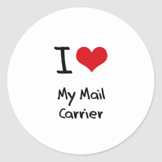 I heart My Mail Carrier Classic Round Sticker