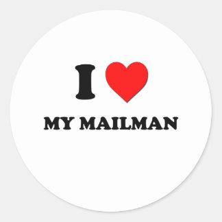 I Heart My Mailman Round Stickers