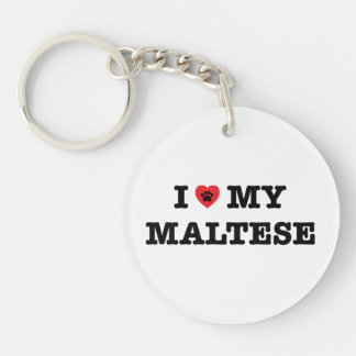 I Heart My Maltese Keychain