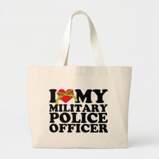 """I """"Heart"""" My Military Police Officer Large Tote Bag"""