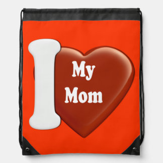 I Heart My Mom Drawstring Bags