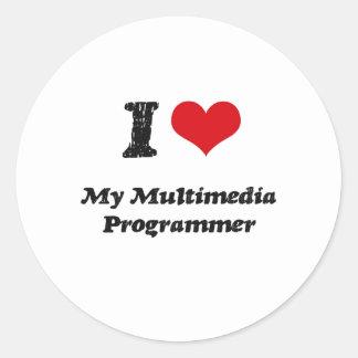 I heart My Multimedia Programmer Round Sticker