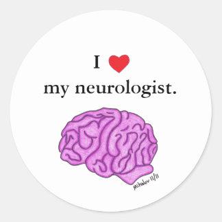 I [heart] my neurologist classic round sticker
