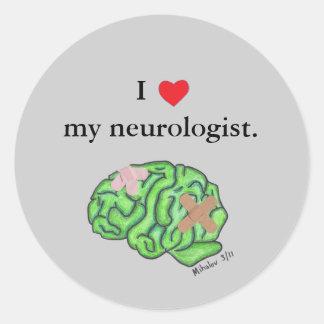 I heart my neurologist round sticker