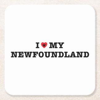 I Heart My Newfoundland Square Paper Coaster